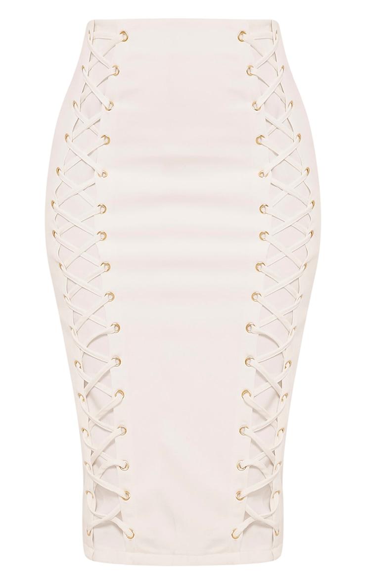 Haley White Lace Up Midi Skirt 3