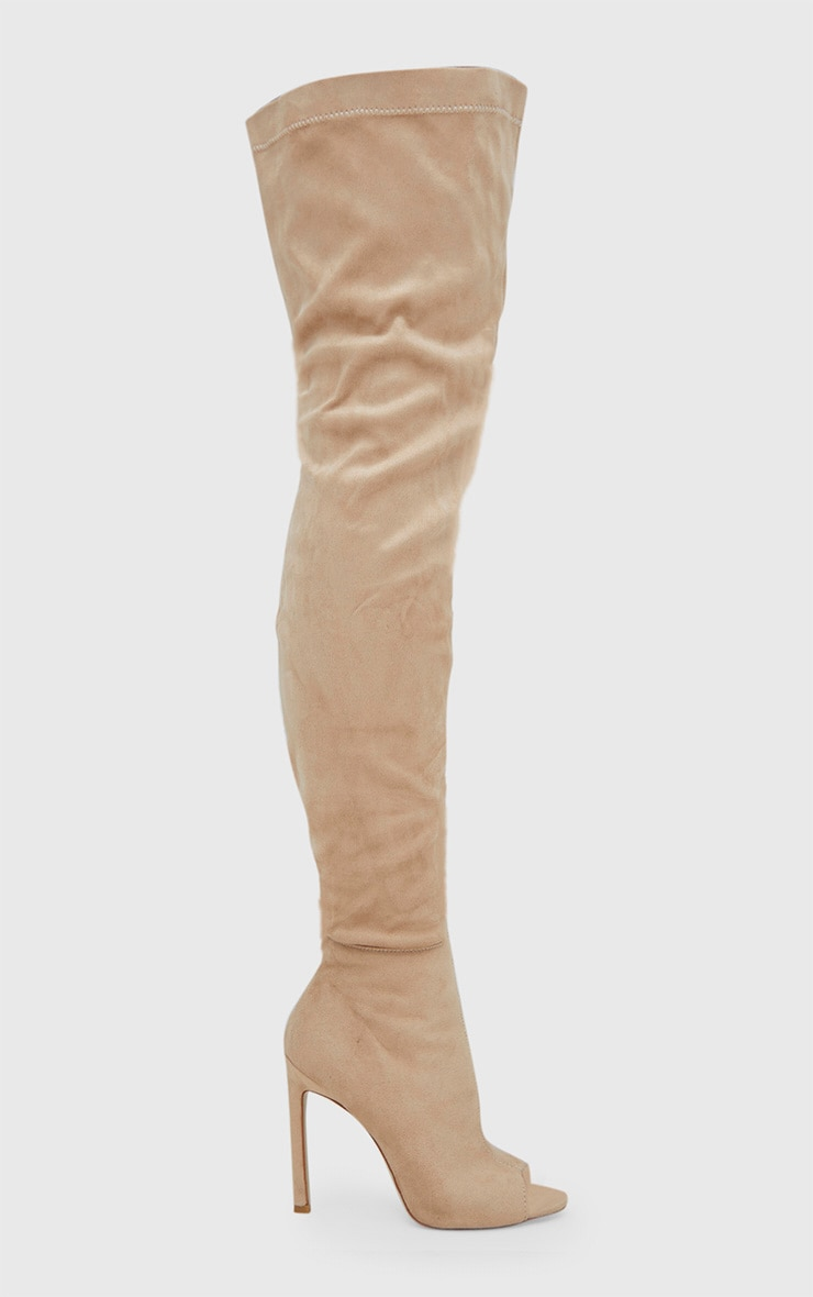 Nude Faux Suede Thigh High Peep Toe Heeled Boots 3
