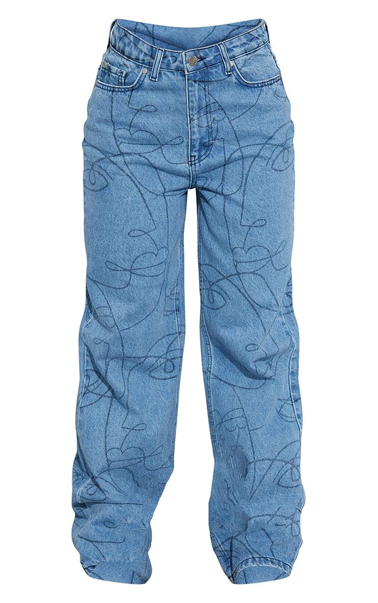 Light Blue Wash Face Print Wide Leg Jeans 5