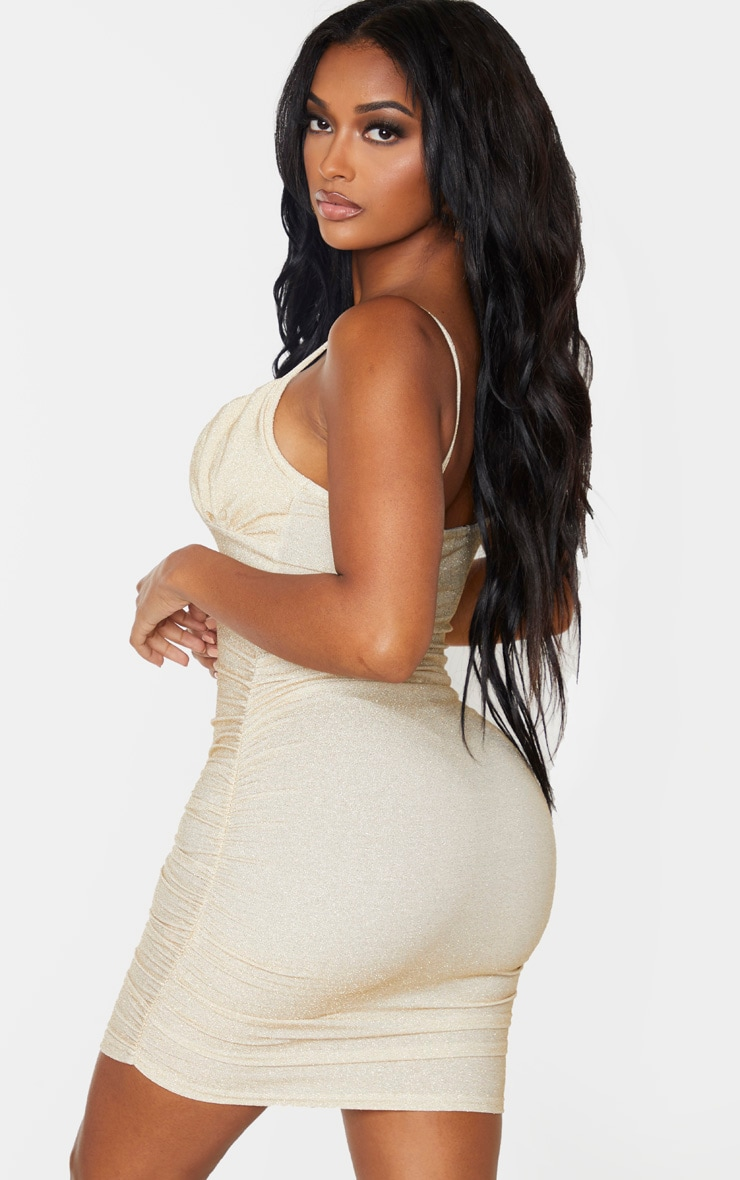 Shape Gold Glitter Ruched Cup Detail Bodycon Dress 2