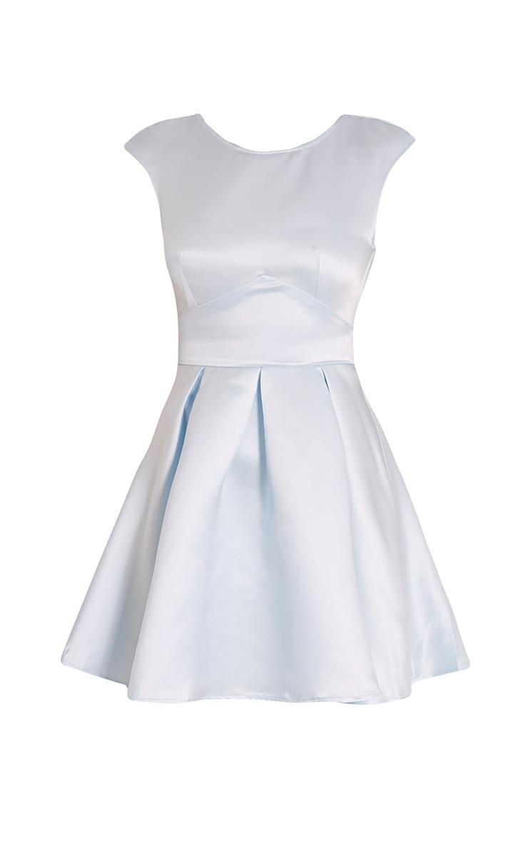 Loura Dusty Blue Satin Open Back Skater Dress 3