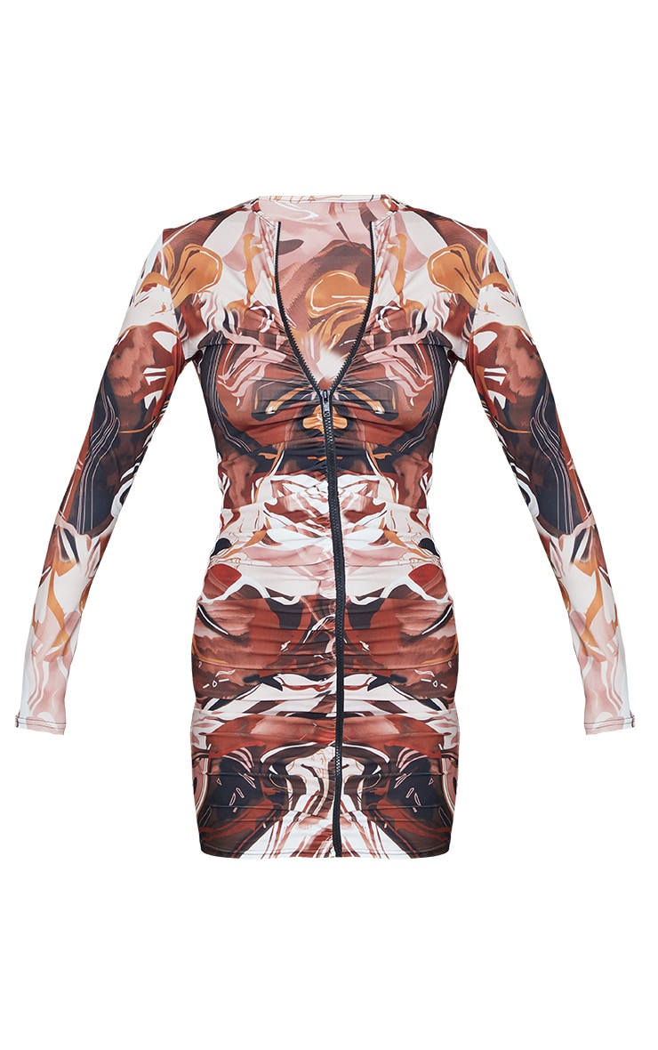 Chocolate Abstract Print Slinky Ruched Zip Through Bodycon Dress 5