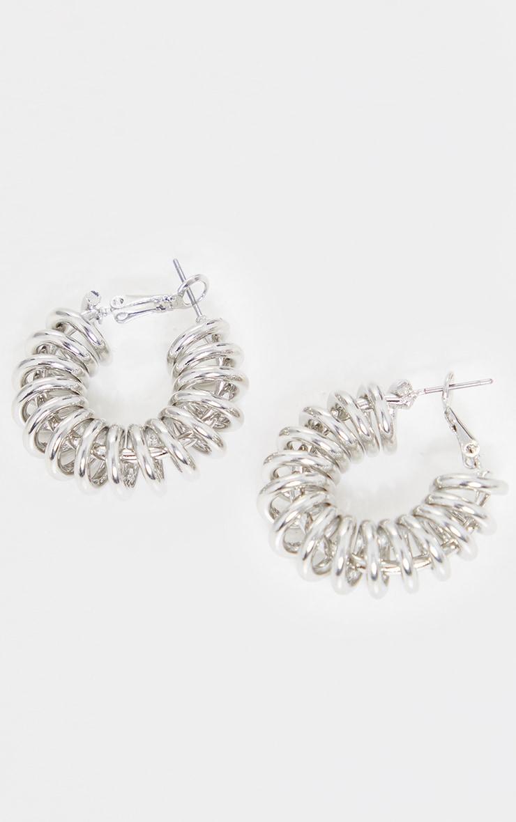 Silver Ribbed Coil Hoop Earrings 2