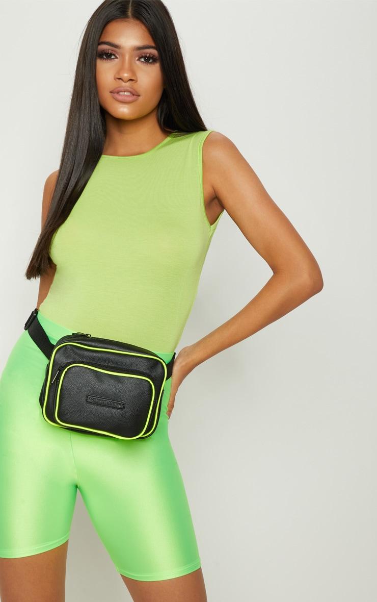 Basic Lime Round Neck Thong Bodysuit