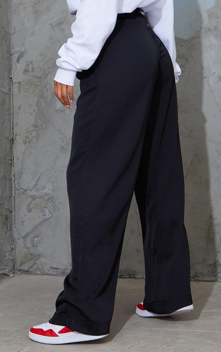 Black Belted Woven Wide Leg Pants 3
