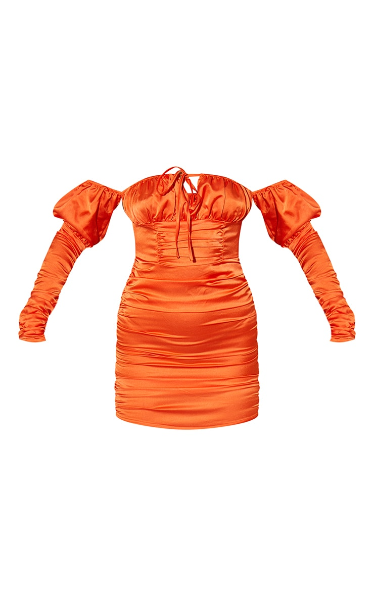 Orange Satin Tie Front Ruched Sleeve Bodycon Dress 5