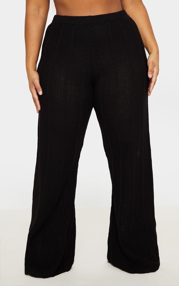 Plus Black Knit Wide Leg Pants 2