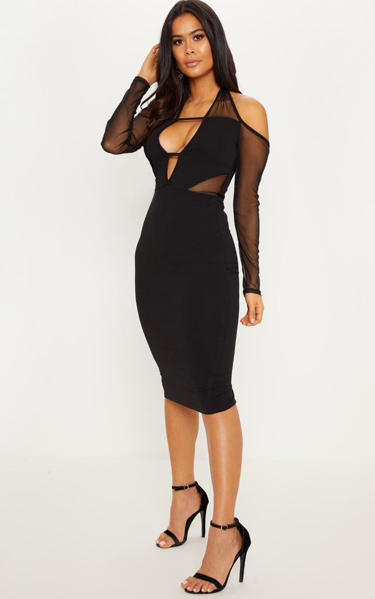 Black High Neck Cut Out Slinky Bodycon Dress