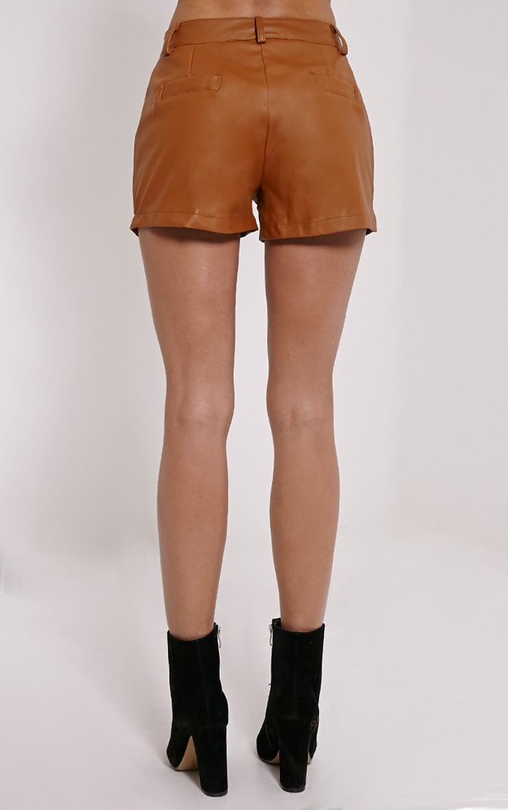 Pattie Tan Faux Leather Shorts 4