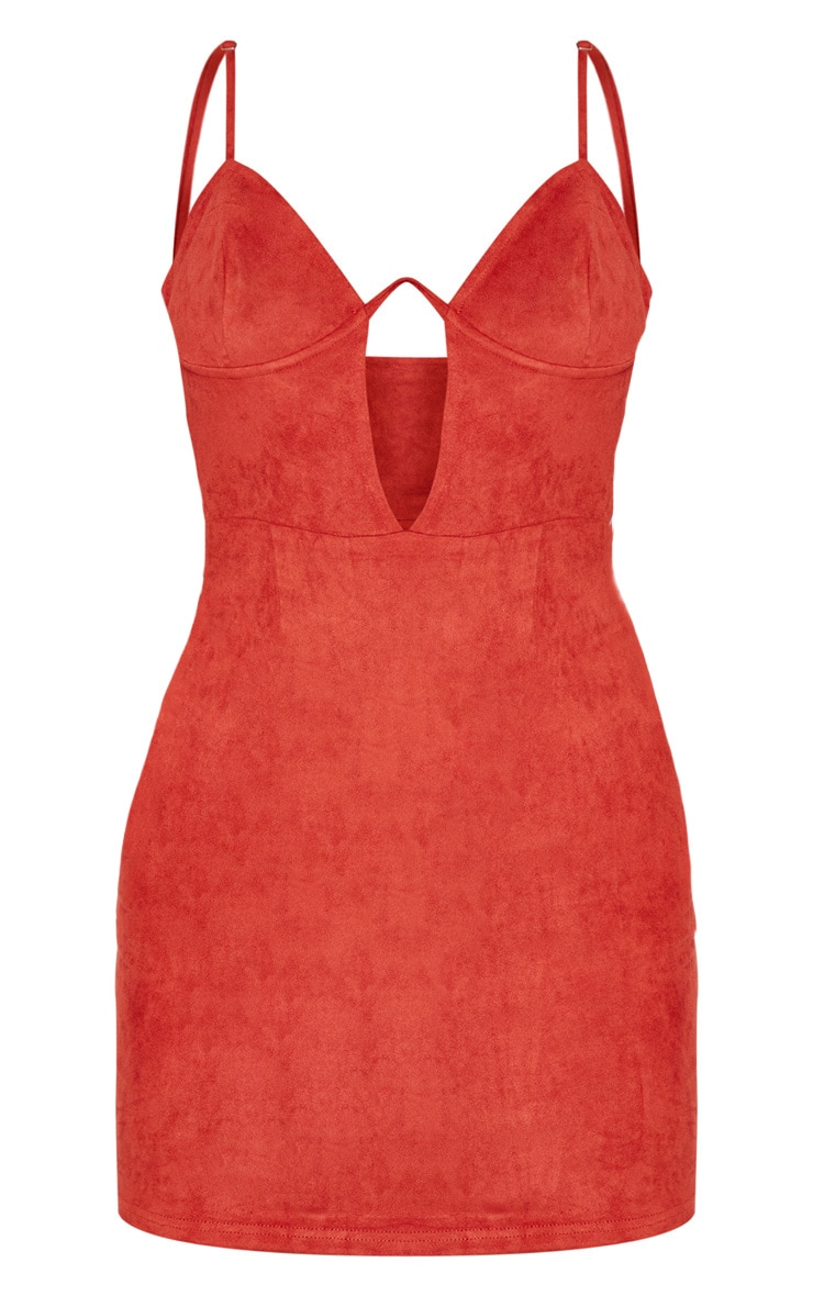 Rust Faux Suede Strappy V Bar Bodycon Dress 4