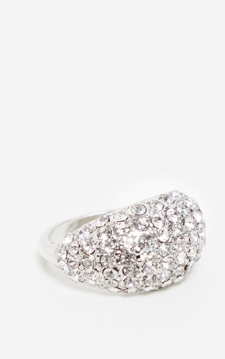 Silver Pave Diamante Ring 1