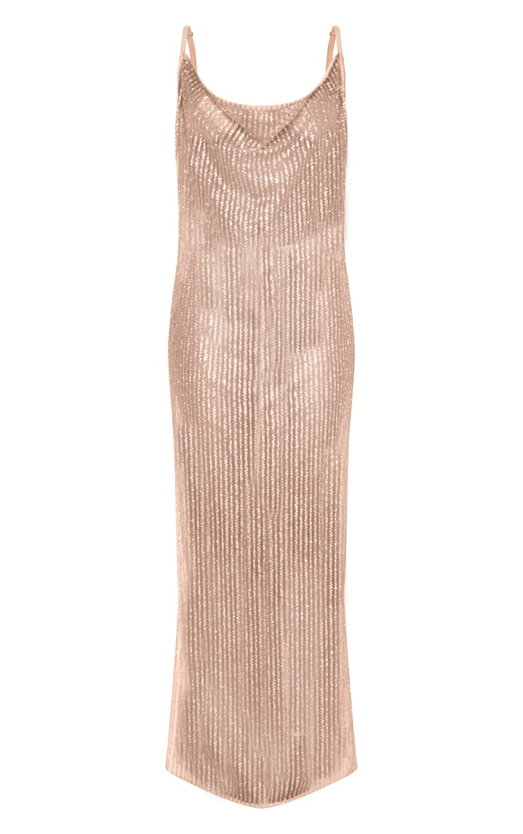 Rose Gold Glitter Sheer Cowl Neck Maxi Dress 3
