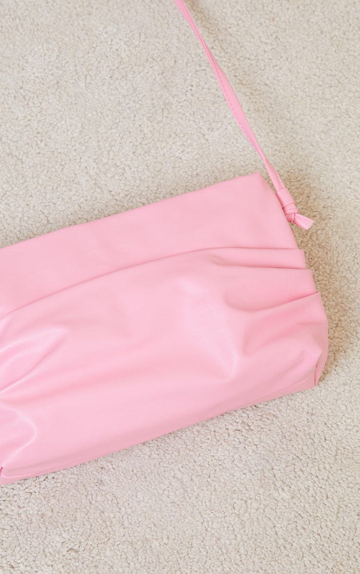 Pink Ruched Side Cross Body Bag 3