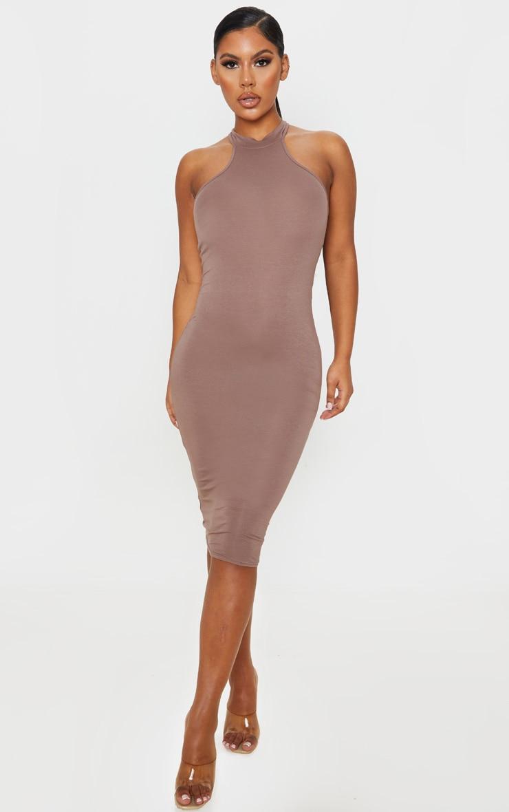 Mocha High Neck Midi Dress   Dresses   PrettyLittleThing AUS