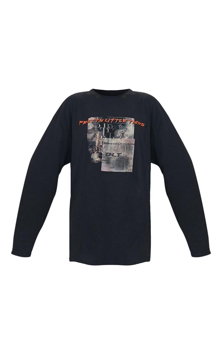 PRETTYLITTLETHING Black Burnout Print Long Sleeve T Shirt 5