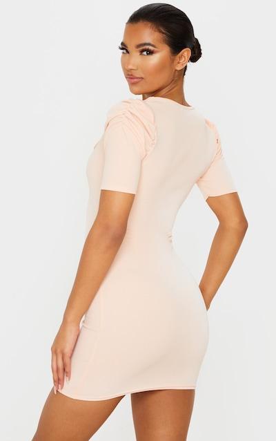 Blush Short Sleeve Puff Shoulder Square Neck Bodycon Dress