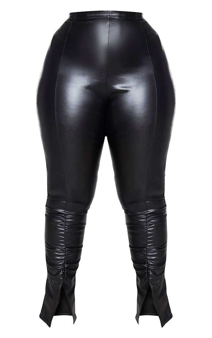 Plus Black PU Ruched Pants 5