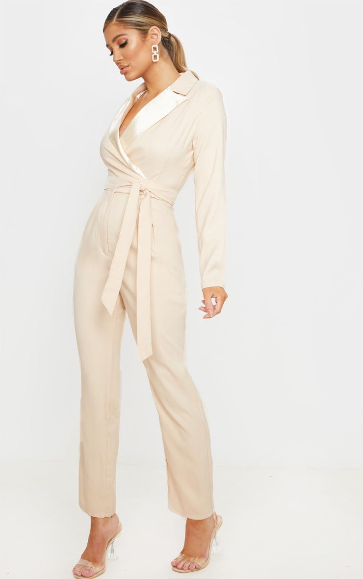 Nude Satin Lapel Tie Detail Jumpsuit 4