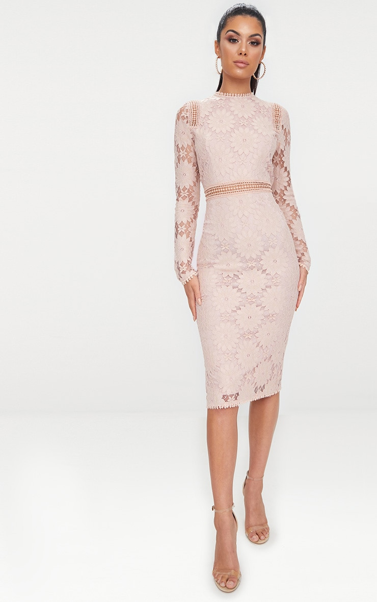 Dusty Pink Long Sleeve Lace Bodycon Dress 4