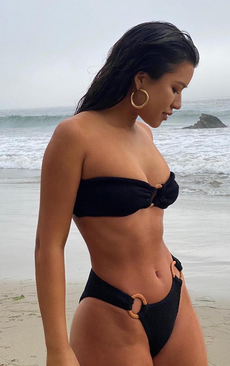Black Ring Middle Crinkle Bikini Top 1