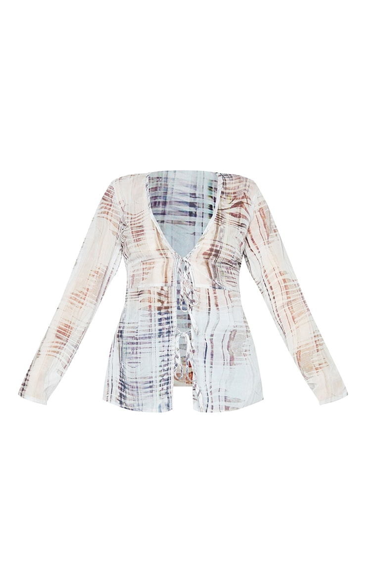 Nude Textured Print Chiffon Double Tie Front Long Sleeve Blouse 5