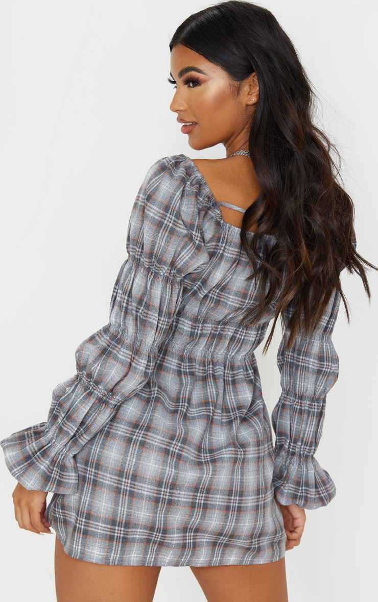 Grey Check Print Elastic Detail Long Sleeve Shift Dress 2