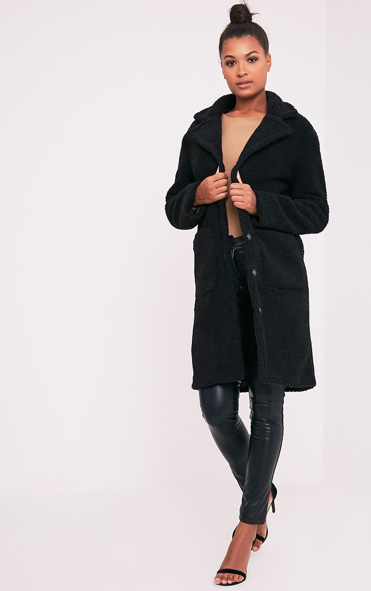Taibah Black Teddy Fur Longline Coat 5