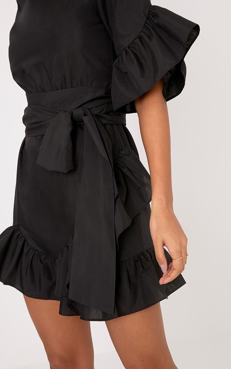 Aaliyah Black Frill Detail Mini Dress 5