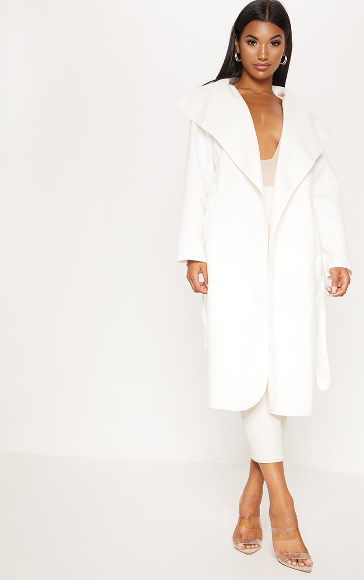 Veronica Cream Oversized Waterfall Belt Coat  4