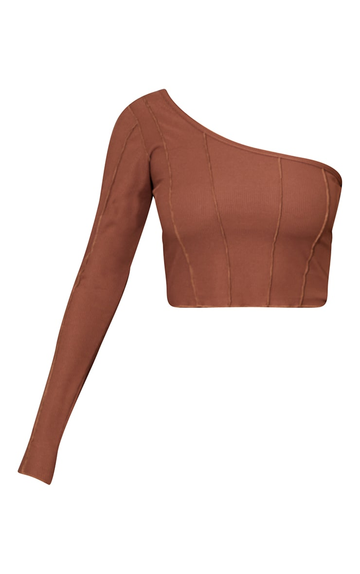 Chocolate Rib Overlock Seam Detail One Shoulder Crop Top 5