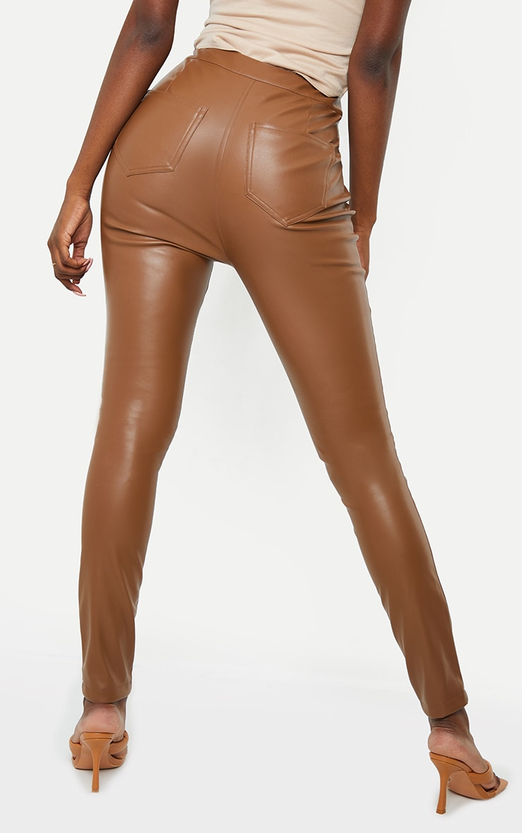 Tall Brown PU Button Detail Trousers 3