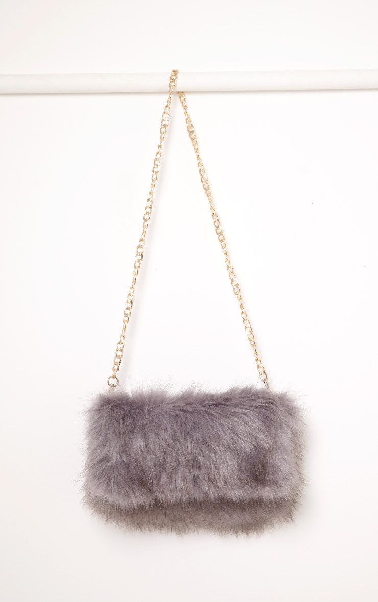 Kylah Grey Faux Fur Clutch Bag 4