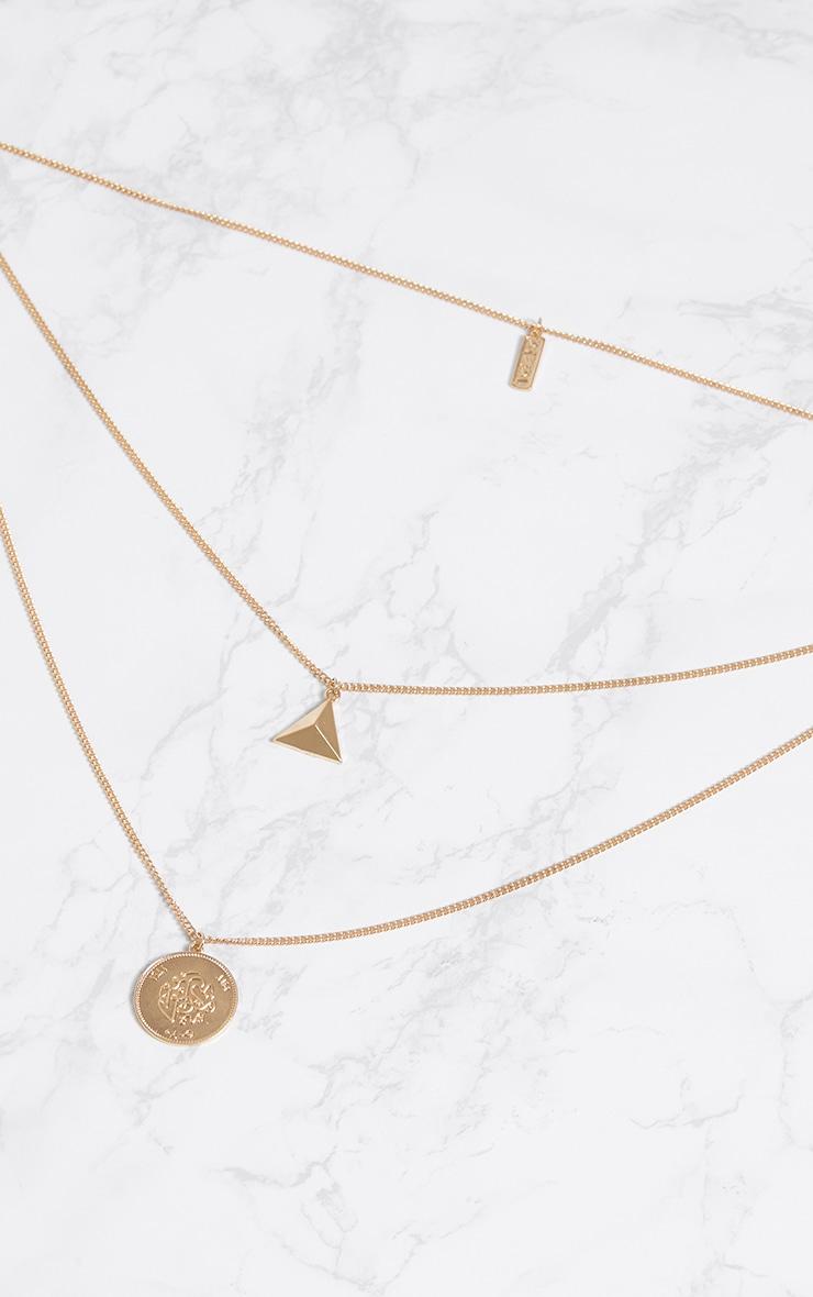 Gold Triple Symbol Pendant Necklace 3