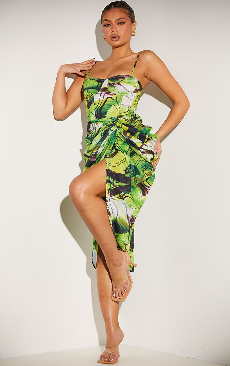 Green Abstract Swirl Ruched Side Midi Skirt 1