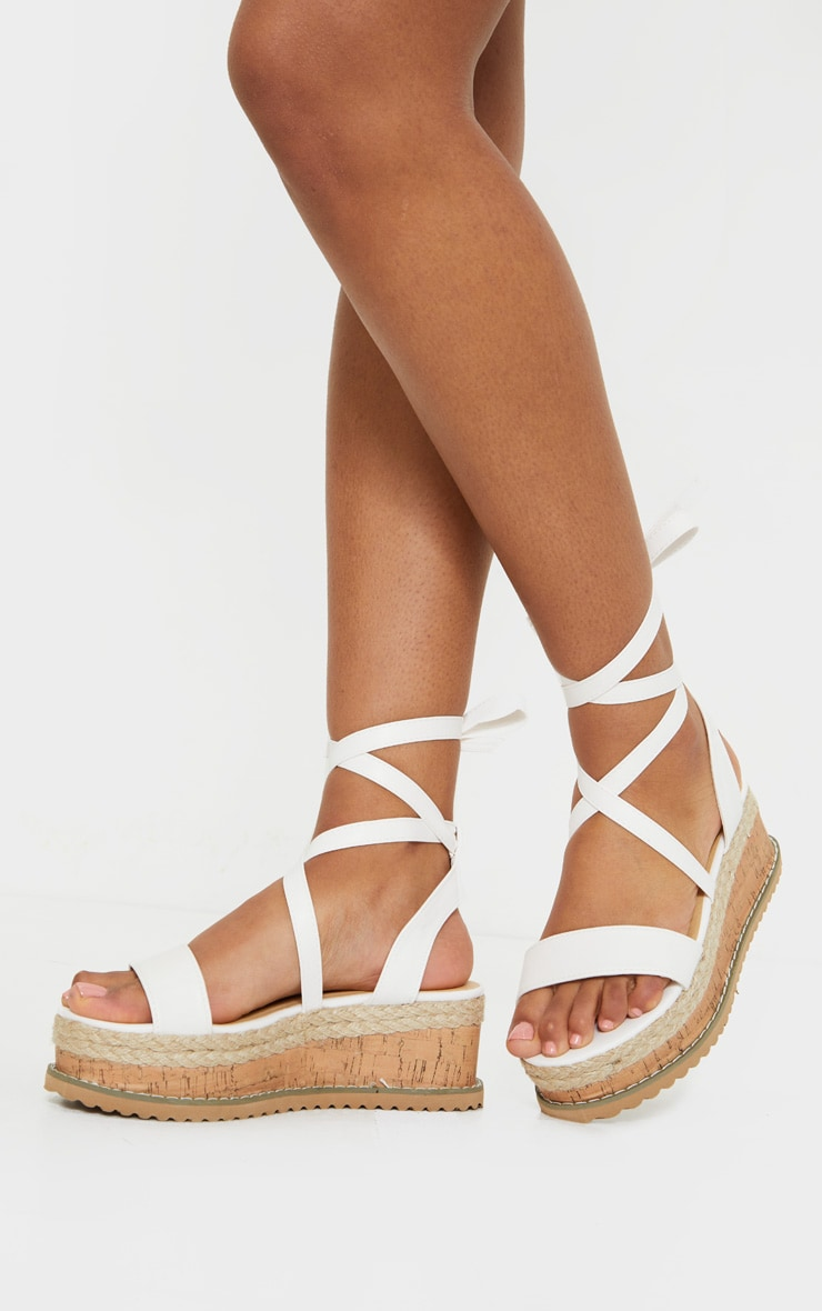 White Wide Fit PU Tie Ankle Espadrilles 1
