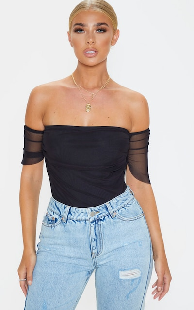 Black Mesh Ruched Bardot Bodysuit