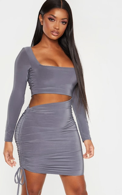 Shape Charcoal Slinky Long Sleeve Cut Out Side Ruched Bodycon Dress