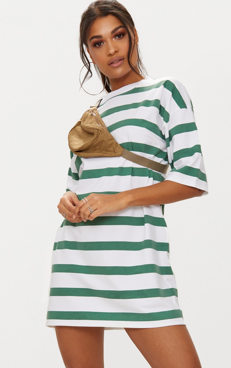 Emerald Green Striped Oversized Boyfriend T Shirt Dress 1