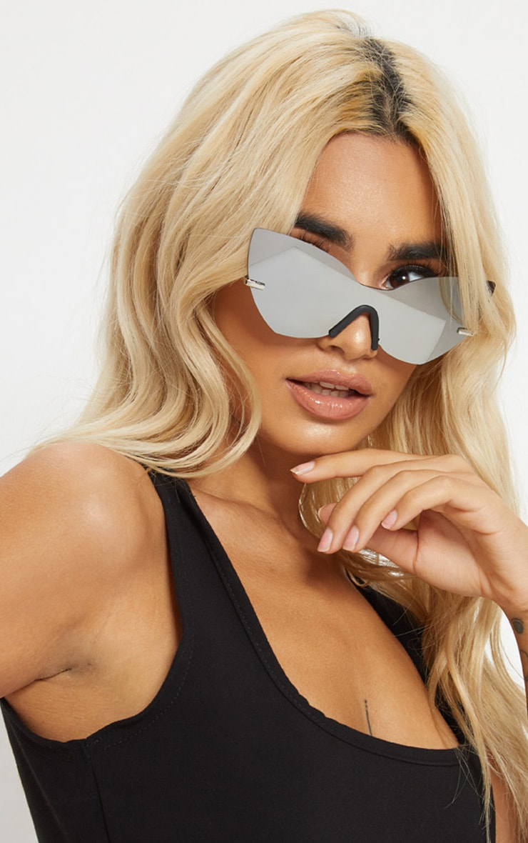 Silver Frameless Cat Eye Sunglasses 1
