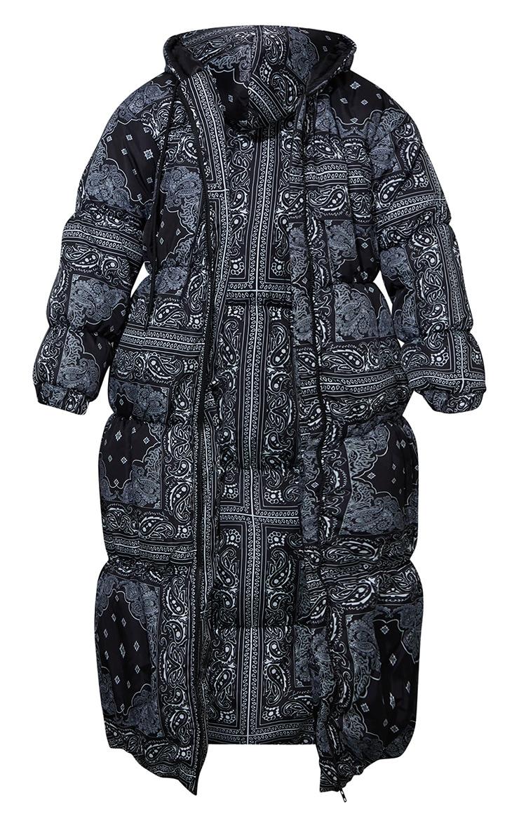 Black Paisley Print Longline Puffer Jacket 9
