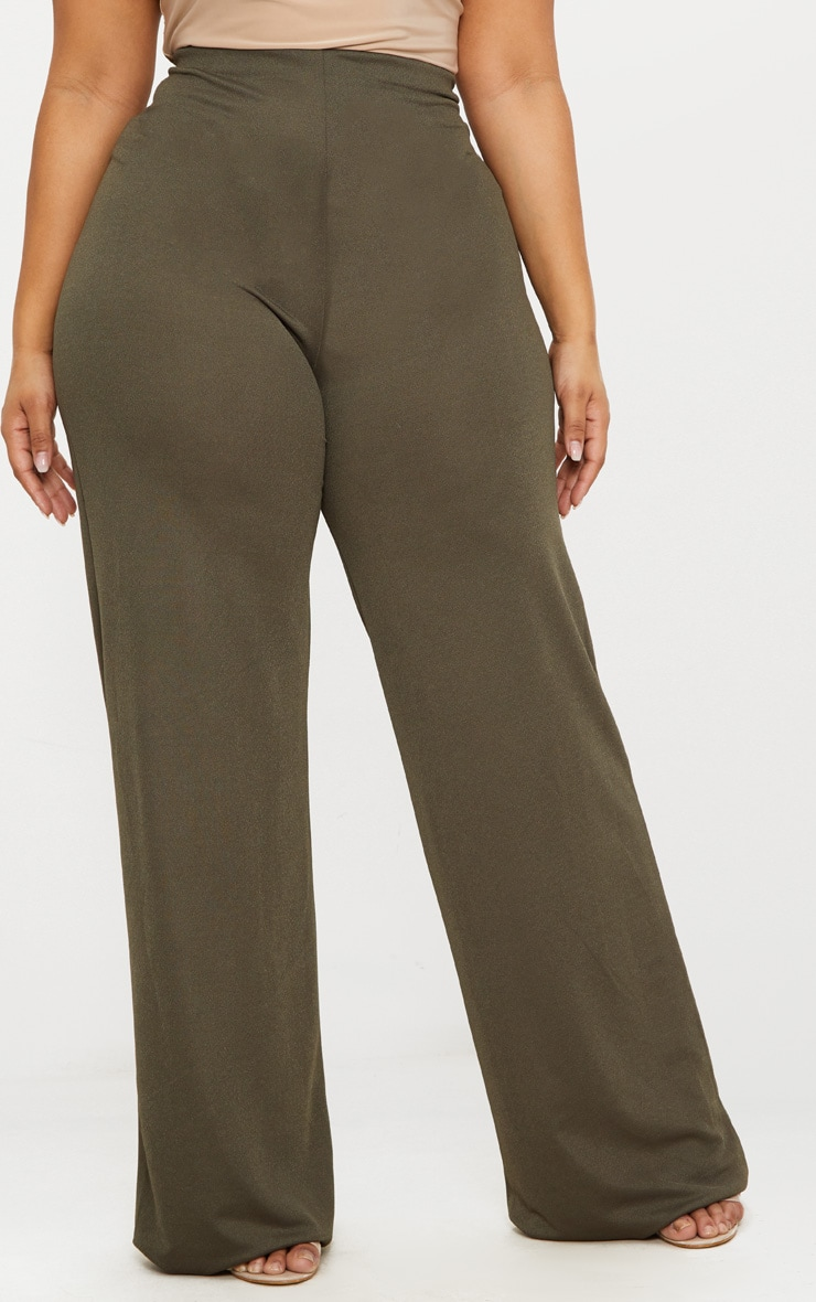 Plus Khaki High Waisted Wide Leg Pants 2
