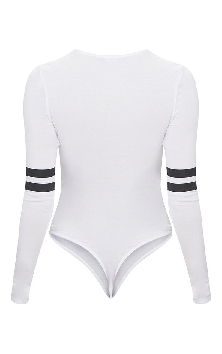 White Jersey Sport Stripe Longsleeve Bodysuit 4