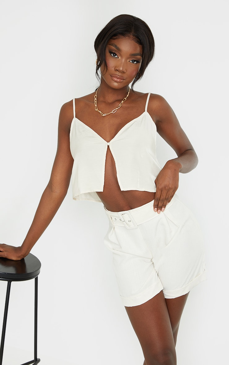 Tall Champagne Button Detail Split Front Strappy Crop Top 1