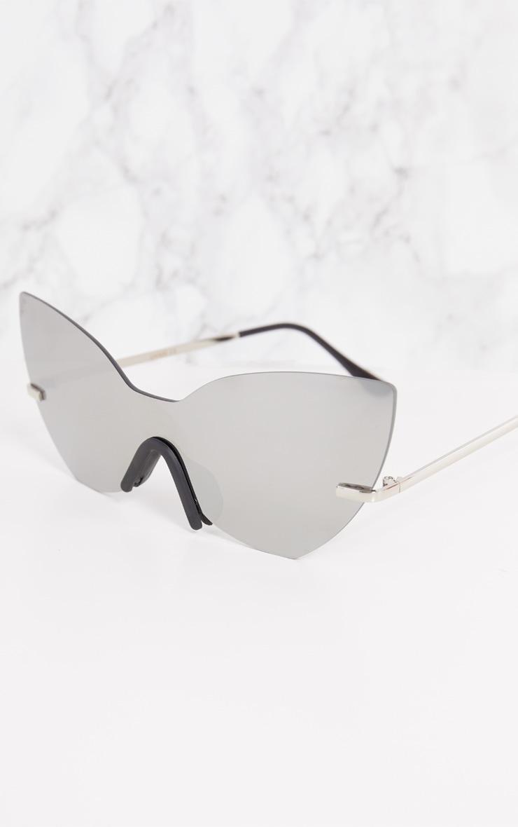 Silver Frameless Cat Eye Sunglasses 5