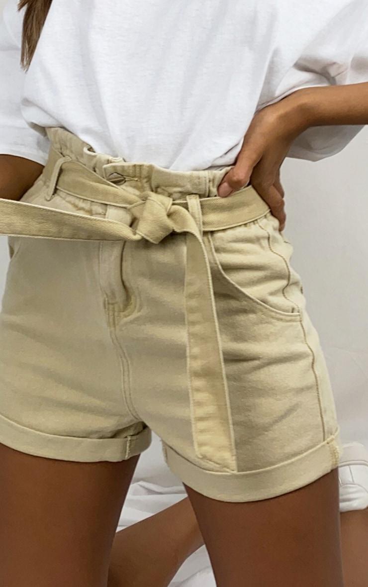 Stone Tie Waist Denim Shorts 5