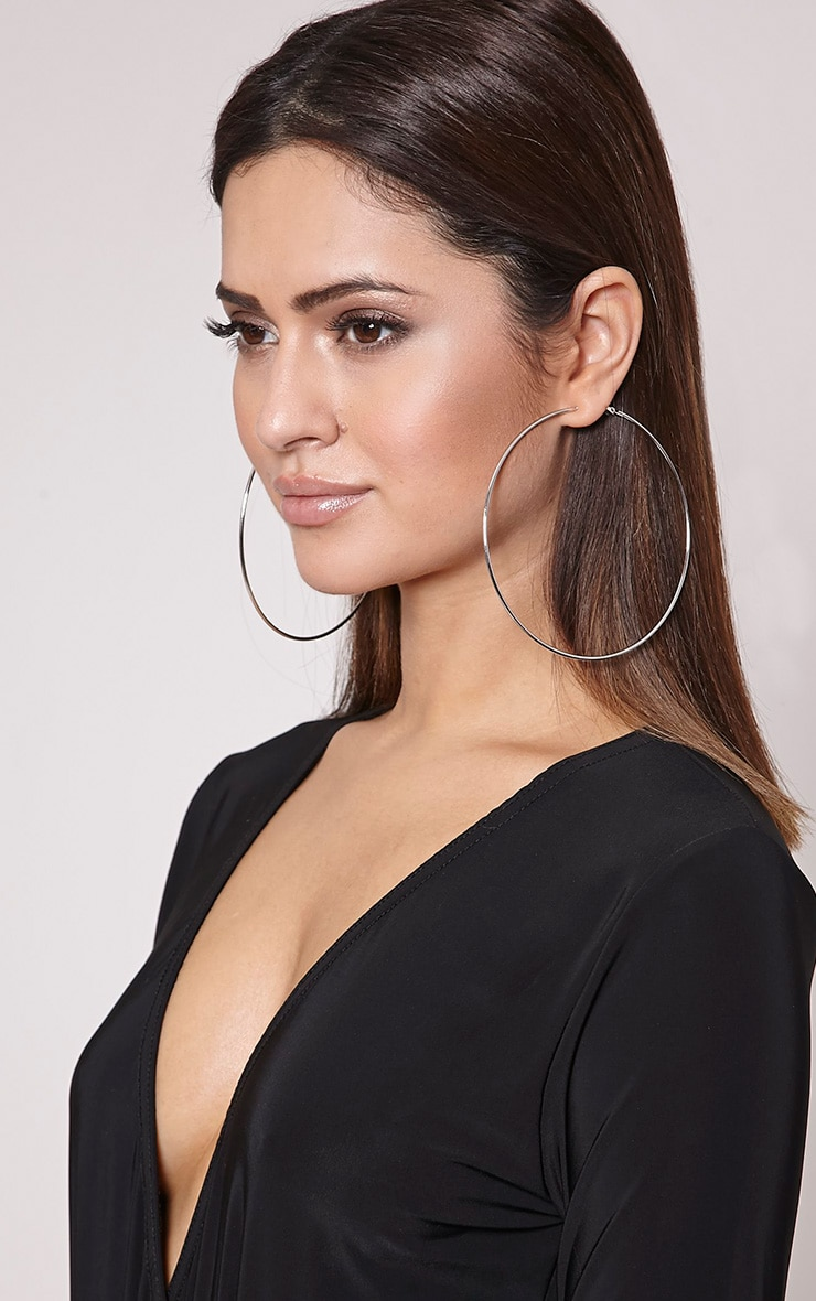 Silver 100mm Hoop Earrings 1