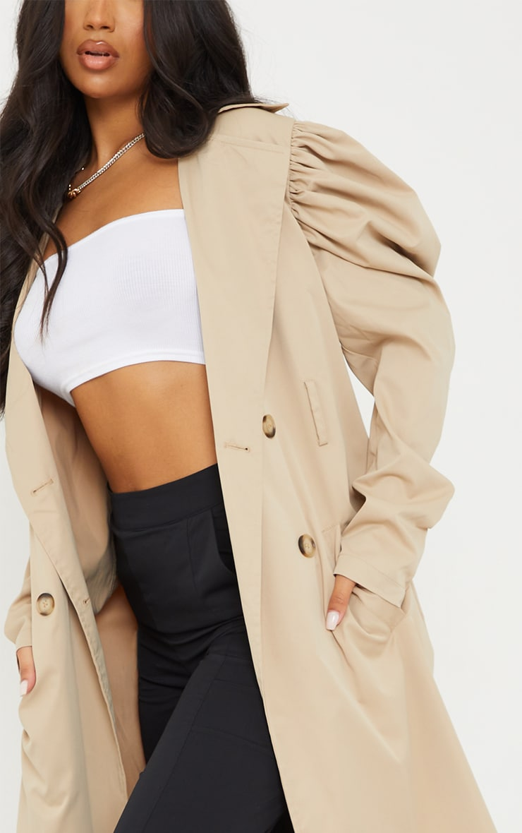 Stone Balloon Sleeve Belted Midi Trench 4