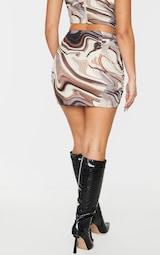 Green Abstract Print Slinky Mini Skirt 3