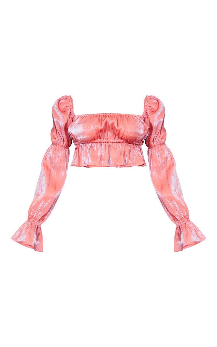 Pink Metallic Ruched Waist Cropped Blouse 5