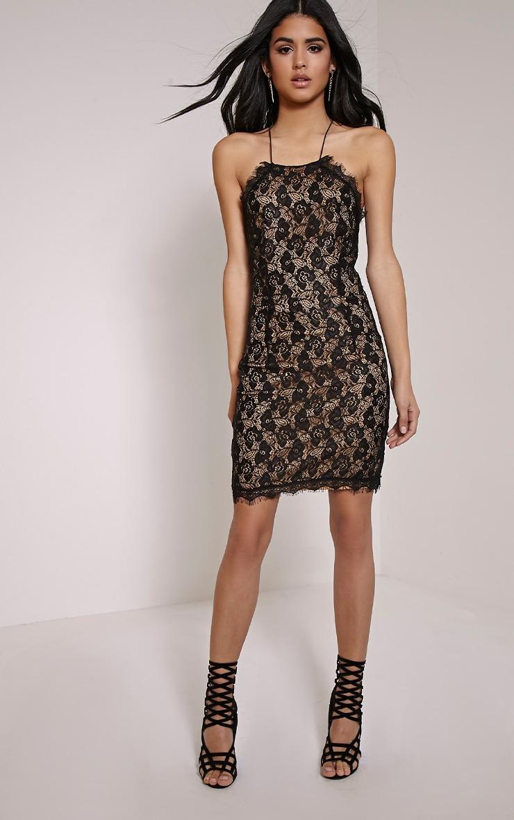 Sierra Black Cross Back Lace Mini Dress Prettylittlething